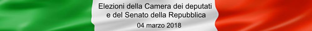 Immagine Bandiera Italiana con scritta Elezioni della Camera dei deputati e del Senato della Repubblica 04 marzo 2018